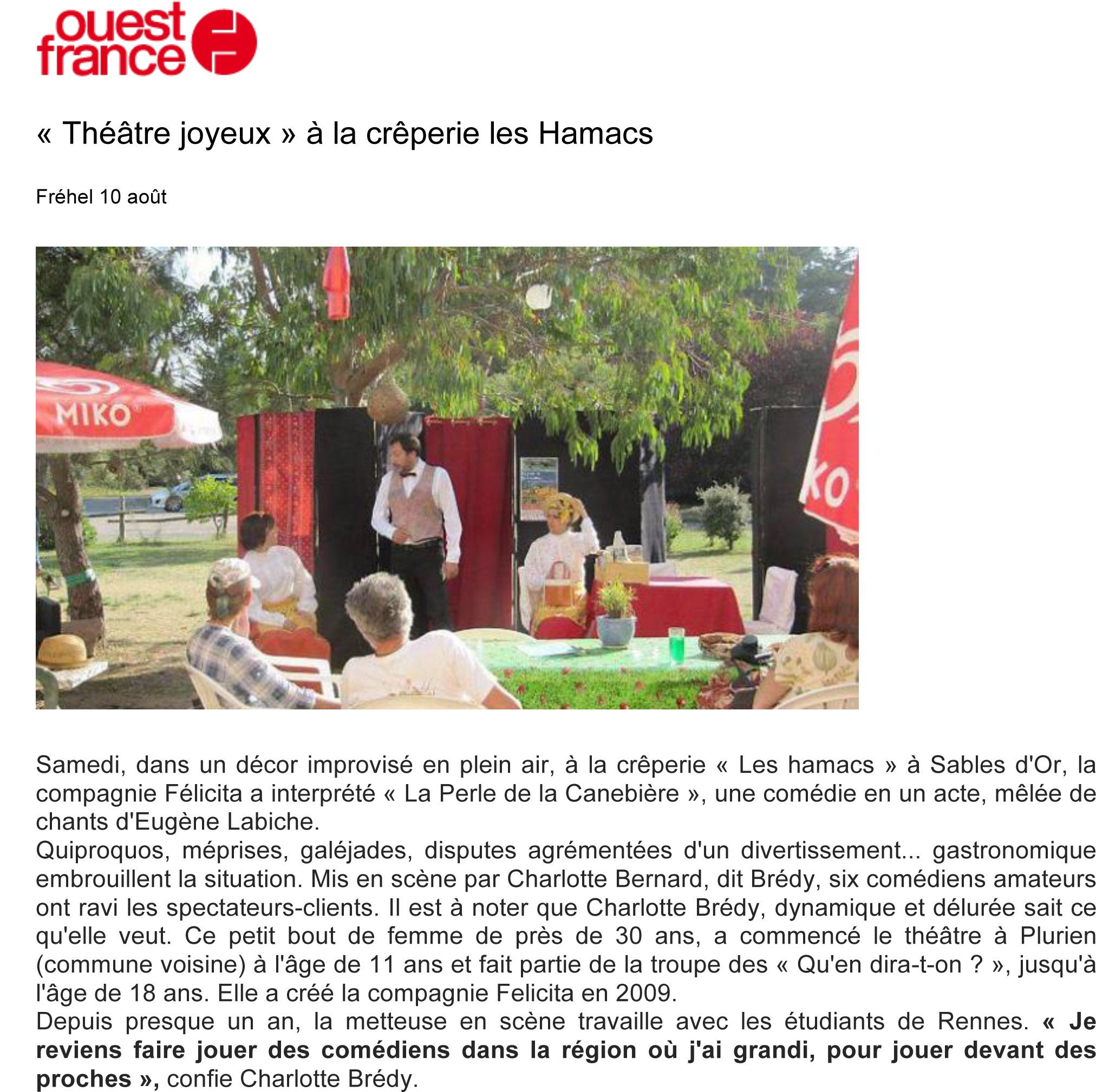 «Théâtre joyeux» à la crêperie les Hamacs