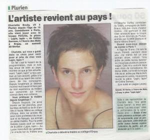 Charlotte Brédy revient en Bretagne, Article presse