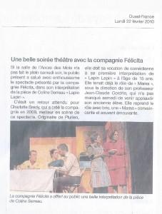 Spectacle Lapin Lapin de Coline Serreau, 2010, Article de presse