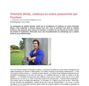 Article de Yegg Mag sur Charlotte Brédy et son activité théâtrale