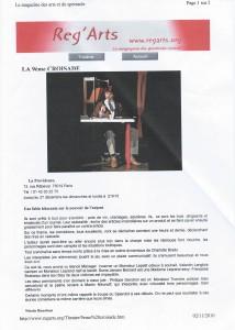 Spectacle La 9e croisade, 2010, Article de presse