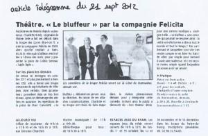 Spectacle Le Bluffeur de Marc Camoletti, 2012