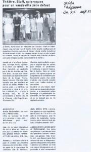 Spectacle Le Bluffeur de Marc Camoletti, 2012, Article de presse