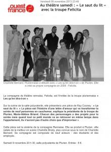 Spectacle Le saut du lit de Ray Cooney, 2013, Article de presse